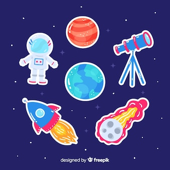 Artistic drawing of space sticker collection
