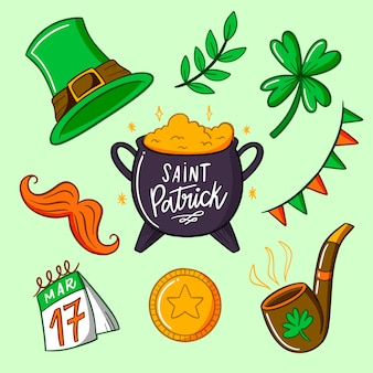 Artistic drawing of st. patricks day element collection