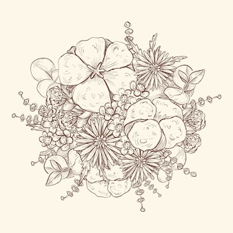 Artistic drawing of vintage bouquet