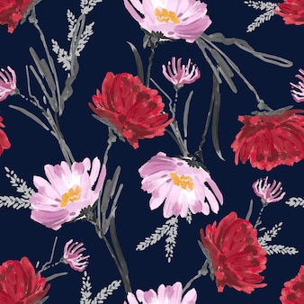 Artistic flower hand painted blooming floral seamless pattern flower