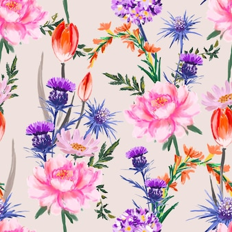 Artistic flower hand painted soft and gentle mood seamless pattern blooming floral