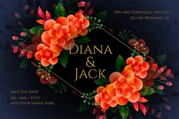 Artistic flower wedding card in dark theme
