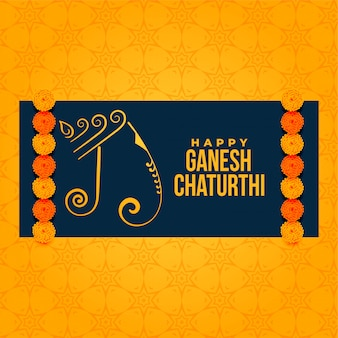 Artistic ganesh chaturthi festival greeting background