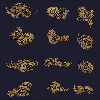 Artistic golden decorative floral set design