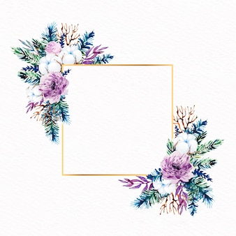 Artistic golden frame with winter flowers