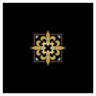 Artistic golden silver fleur de lis logo design