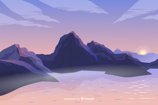 Artistic gradient mountains landscape