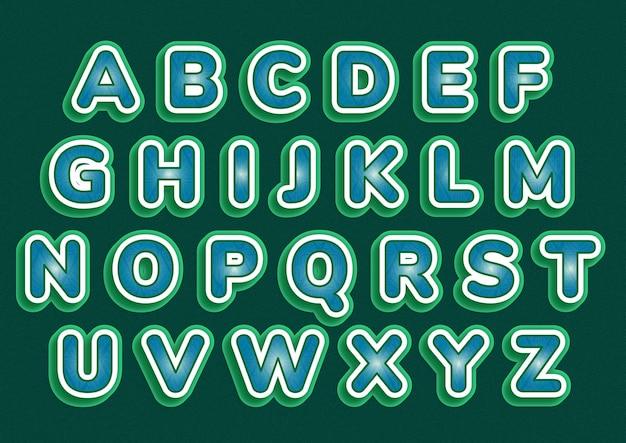 예술적 녹색 흰색 알파벳 세트