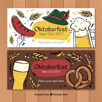 Artistic hand drawn banners for oktoberfest