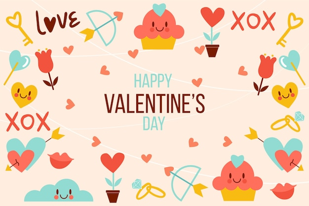 Artistic hand drawn valentine's day background