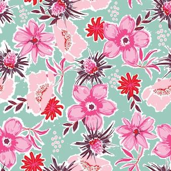 예술적 손 페인트 꽃 원활한 패턴 피는 정원 꽃 벡터 eps10, 패션, 직물, 섬유, 벽지, 커버, 웹, 포장 및 밝은 녹색 민트의 모든 인쇄를 위한 디자인