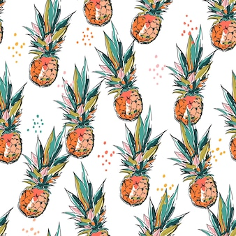 Artistic hand sketch brush paint pineapple seamless patterns vector eps10,design for fashion , fabric, textile, wallpaper, cover, web , wrapping and all prints on white