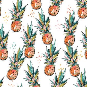 예술적 손 스케치 브러시 페인트 파인애플 원활한 패턴 벡터 eps10, 패션, 직물, 섬유, 벽지, 커버, 웹, 포장 및 흰색의 모든 인쇄용 디자인