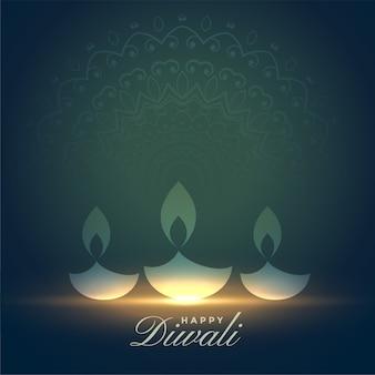 Diwali felice artistico disegno di sfondo diya incandescente