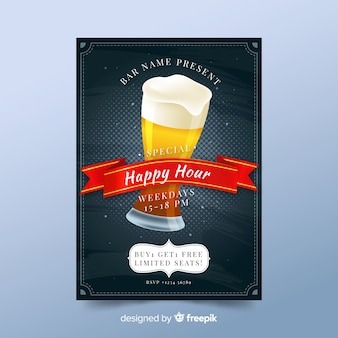Artistic happy hour poster template