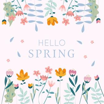 Artistic hello spring colorful design