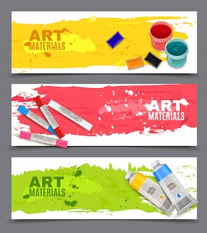 Artistic horizontal banners set