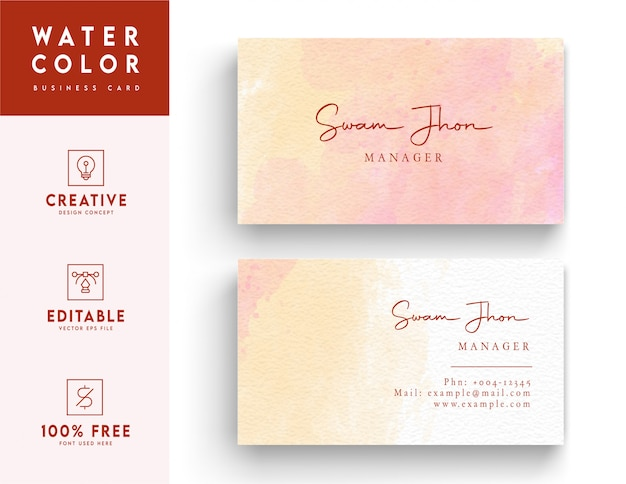 Artistic horizontal watercolor business card template