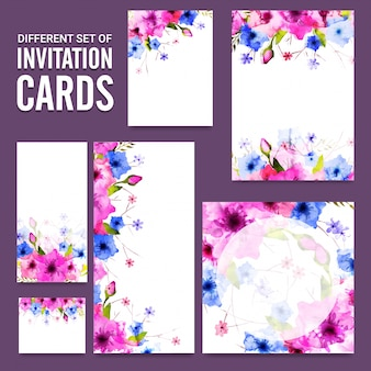 Artistic invitation cards set d with pink and purple flowers.