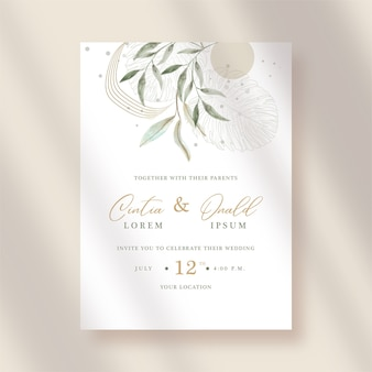 Artistic leaves watercolor on wedding invitation