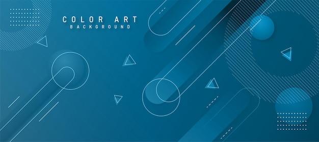 壁紙や背景に使用される青い色調の芸術的なライングラデーションの幾何学的な背景。