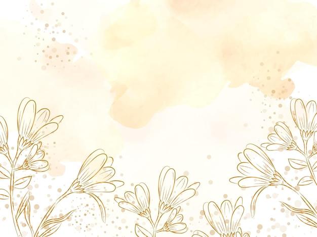 골드 스플래시 그림 배경 템플릿으로 예술적 라인 꽃