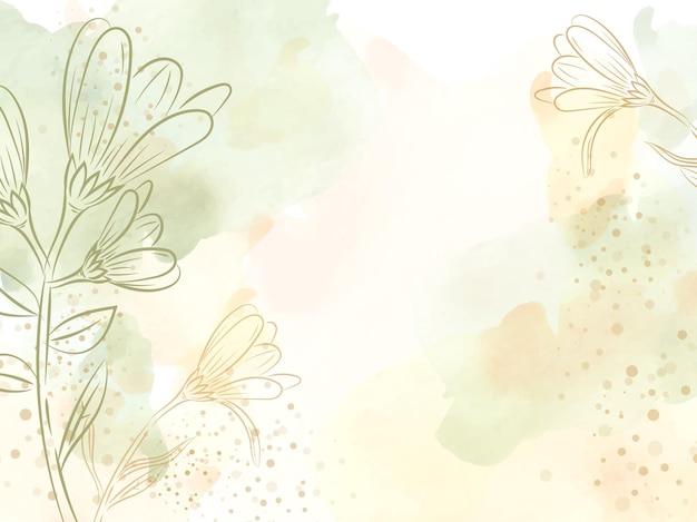 녹색 스플래시 그림 배경 템플릿으로 예술적 라인 꽃