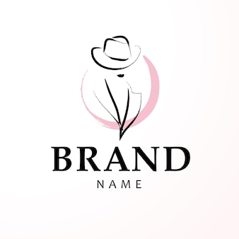 Artistic logo with hand drawn lady in hat portrait isolated.