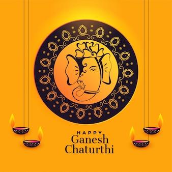 Artistic lord ganesha for ganesh chaturthi festival