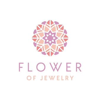 Artistic luxury beautiful jewelry logo design with flower ornament
