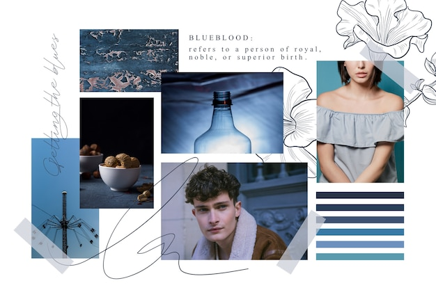 Artistic moodboard with pictures