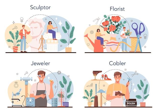 예술적 직업 세트입니다. 제작 과정. 꽃집과 조각가, 보석상 및 구두 수선공. 취미와 현대 직업의 컬렉션입니다. 격리 된 벡터 일러스트 레이 션