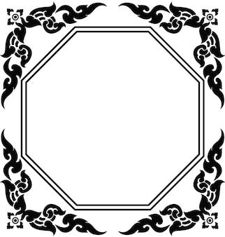 タイのパターンベクトルの芸術的な八角形のフレーム