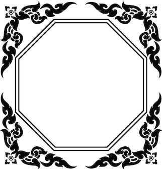 Artistic octagon frame of thai pattern vector
