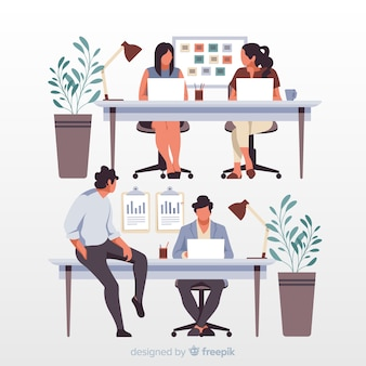 Artistic office workers sitting at desks illustration