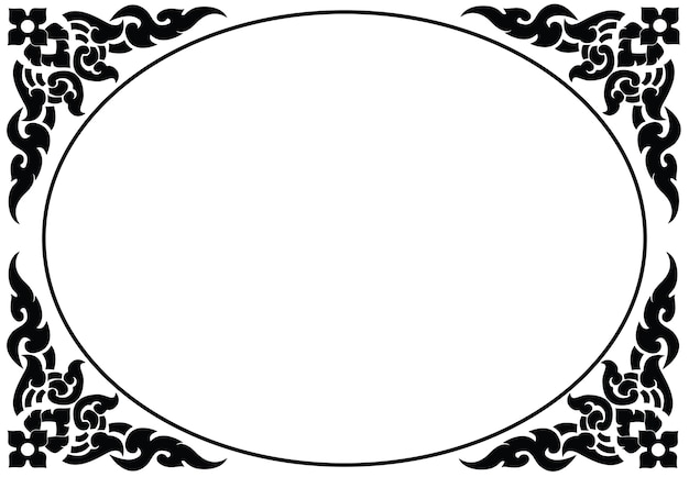 Artistic oval frame of thai pattern vector