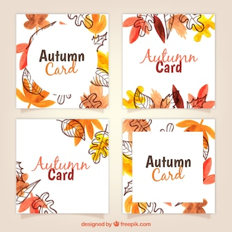 Artistic pack of watercolor autumn cards