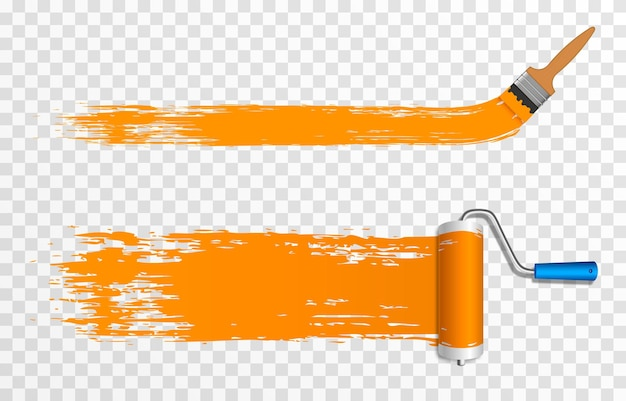 Artistic paint roller and brush construction roller brush png roller brush for paint drawing c
