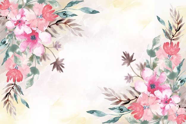 Artistic paint with watercolor floral background
