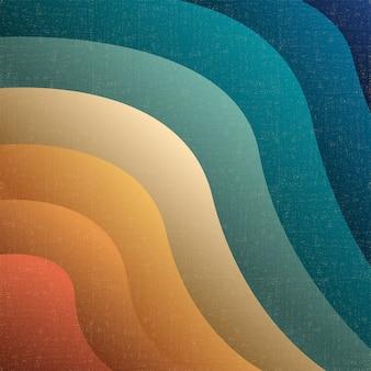 レトロなグランジスタイルの芸術的なペーパーカット波状の背景