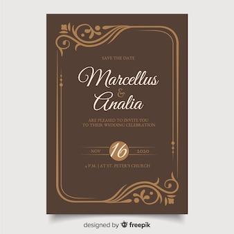 Artistic retro wedding invitation template