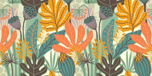 抽象的な葉を持つ芸術的なシームレスパターン。紙、カバー、ファブリック、インテリア、その他のユーザー向けのモダンなデザイン。