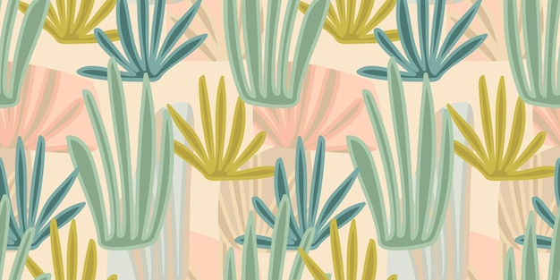 Artistic seamless pattern with abstract leaves. modern design