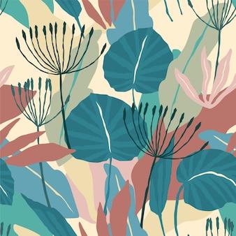 추상적 인 잎 예술적 완벽 한 패턴입니다.