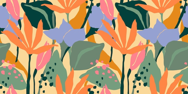 Artistic seamless pattern with abstract leaves.