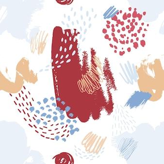 Художественный бесшовный образец с красочными пятнами краски, пятнами, отметками, каракулями на белом фоне. модные векторные иллюстрации в стиле современного искусства для оберточной бумаги, обоев, текстильной печати.