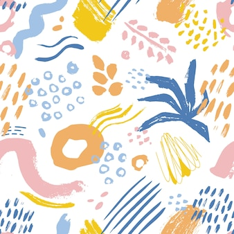 Artistic seamless pattern with colorful paint stains, marks and traces