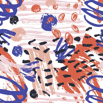 Artistic seamless pattern with paint stains, marks, traces, scribble