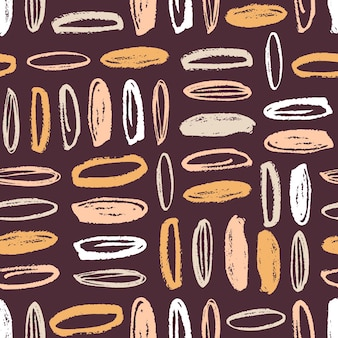 Artistic seamless pattern with vertical and horizontal rows of colorful oval stains on brown background. modern backdrop with rounded paint marks. abstract vector illustration for wrapping paper.