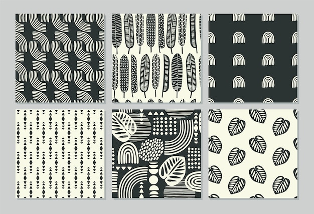 Artistic seamless patterns with abstract leaves and geometric shapes.